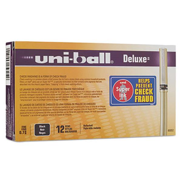 60052 uni-ball Deluxe Roller Ball Pen Pack of 6 Fine Point Black Ink