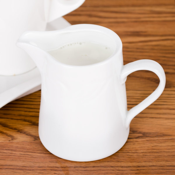 CAC RSV-PC Roosevelt 6 oz. Super White Porcelain Creamer - 36/Case