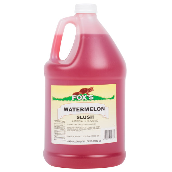 Fox's 1 Gallon Watermelon Slush Syrup  - 4/Case