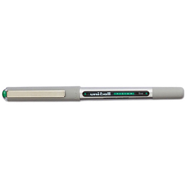 Uni-Ball 60386 Vision Evergreen Ink with Gray Barrel 0.7mm Roller Ball Waterproof Stick Pen - 12/Pack Main Image 1