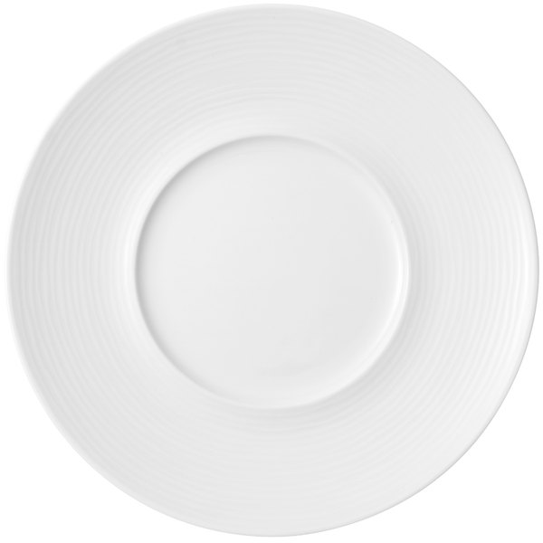 "Villeroy & Boch 16-3356-2795 Sedona 11 3/8"" White Porcelain Marchesi Plate with 5 3/4"" Well - 6/Case"
