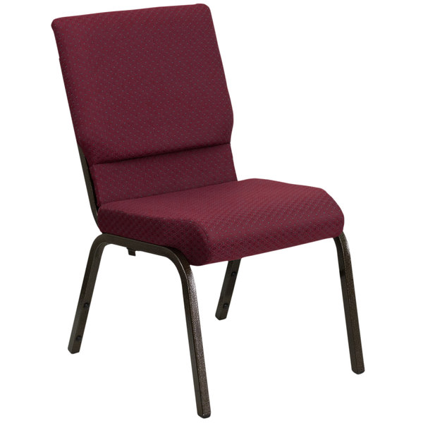 "Flash Furniture XU-CH-60096-BYXY56-GG Burgundy Patterned 18 1/2"" Wide Church Chair with Gold Vein Frame"