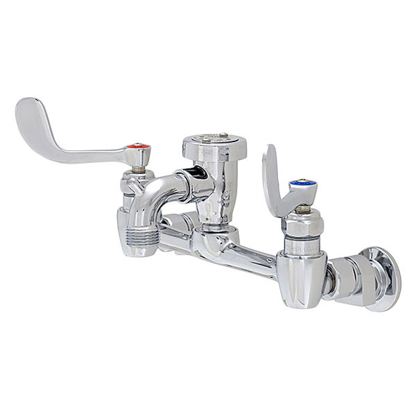 """Fisher 18058 Wall Mounted Service Sink Faucet with 8"""" Centers, 3"""" Service Sink Spout, Garden Hose Outlet, and Wrist Handles"""