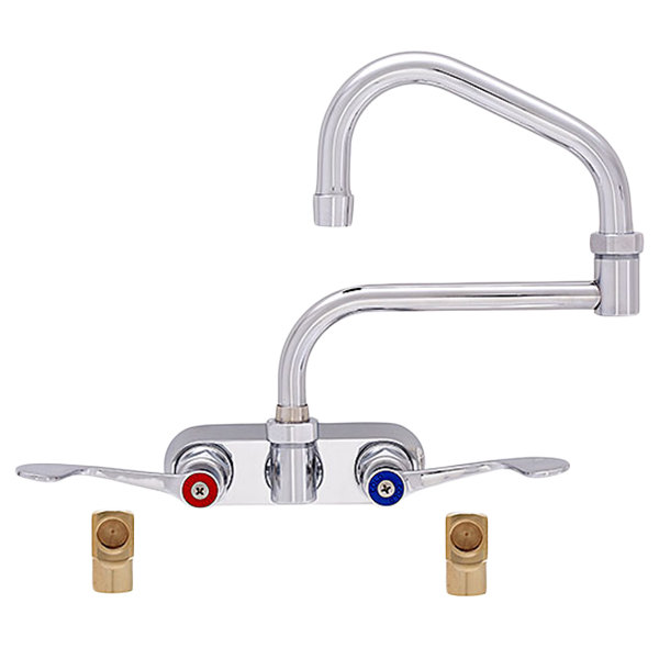 "Fisher 19690 Backsplash Mounted Faucet with 4"" Centers, 13"" Double-Jointed Swing Nozzle, 2.2 GPM Aerator, Wrist Handles, and Elbows"