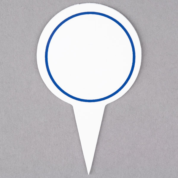 Round Write On Deli Sign Spear with Blue Solid Border - 25/Pack Main Image 1