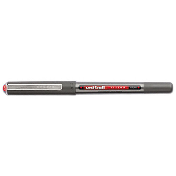 Uni-Ball 60117 Vision Red Ink with Gray/ Red Barrel 0.5mm Roller Ball Waterproof Stick Pen - 12/Pack Main Image 1
