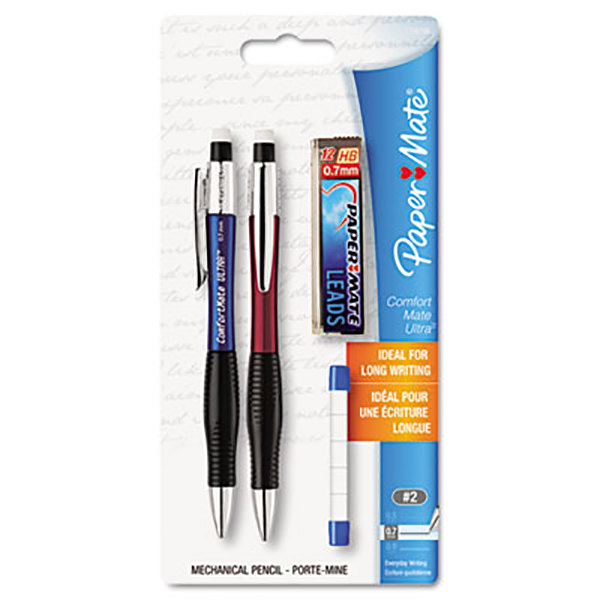 Paper Mate 1738796 ComfortMate Ultra Assorted Barrel Color 0.7mm HB Lead #2 Mechanical Pencil - 2/Set