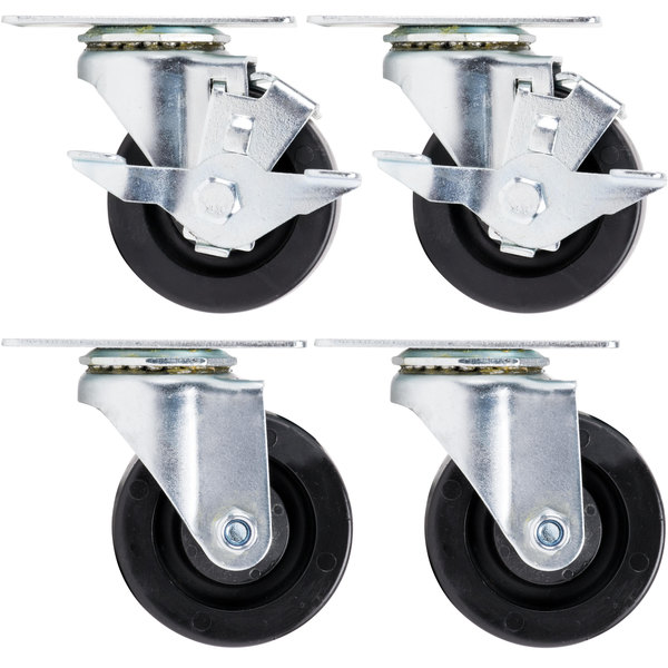 """Beverage-Air 61C01-018D-01 3"""" Replacement Plate Casters for Beverage-Air HB, MM, LV, and Slate Series - 4/Set Main Image 1"""