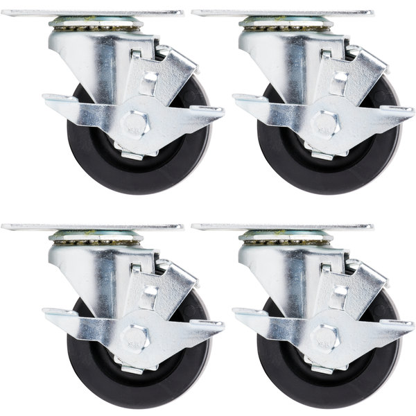 """Beverage Air 61C01-018D-01 3"""" Replacement Plate Casters for Beverage Air LV15 - LV72 Lumavue and MM Series Glass Door Merchandisers - 4/Set"""