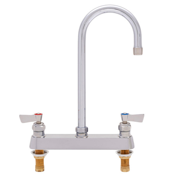"Fisher 1821 Deck Mounted Faucet with 8"" Centers, 6"" Swivel Gooseneck Nozzle, 2.2 GPM Aerator, and Lever Handles"
