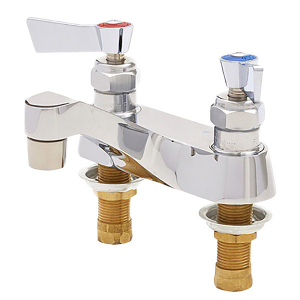 """Fisher 1744 Deck Mounted Faucet with 4"""" Centers, 4"""" Rigid Lavatory Spout, 0.35 GPM PCA Spray Outlet, and Lever Handles"""