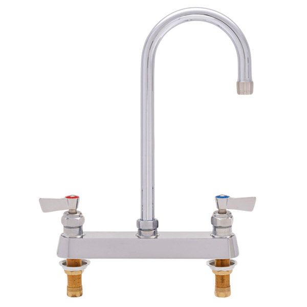 """Fisher 1848 Deck Mounted Faucet with 8"""" Centers, 6"""" Rigid Gooseneck Nozzle, 2.2 GPM Aerator, and Lever Handles"""
