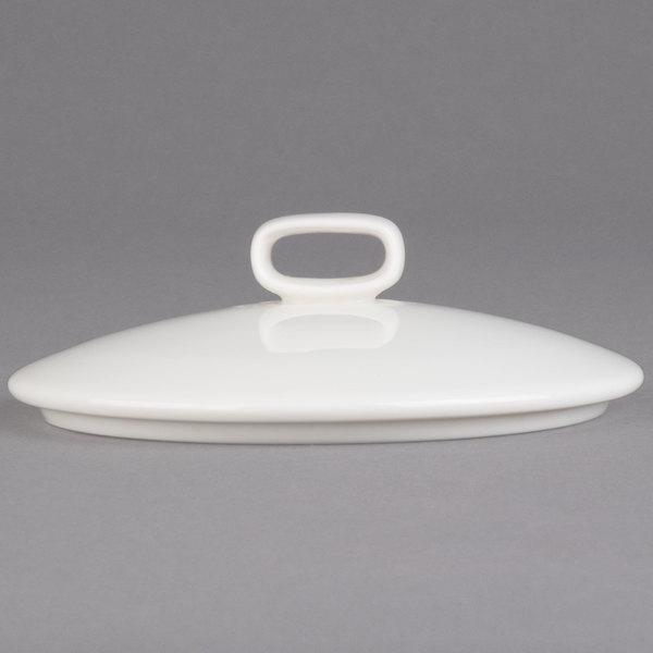 "Villeroy & Boch 16-4004-2526 Affinity 4 3/8"" White Porcelain Serving Dish / Lid with Knob - 6/Case"