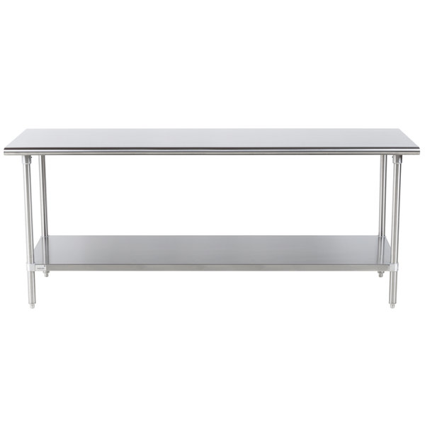 """Advance Tabco Premium Series SS-307 30"""" x 84"""" 14 Gauge Stainless Steel Commercial Work Table with Undershelf"""