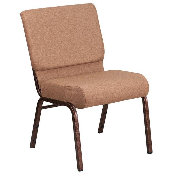 """Flash Furniture FD-CH0221-4-CV-BN-GG Hercules Series Caramel 21"""" Church Chair with Copper Vein Frame"""