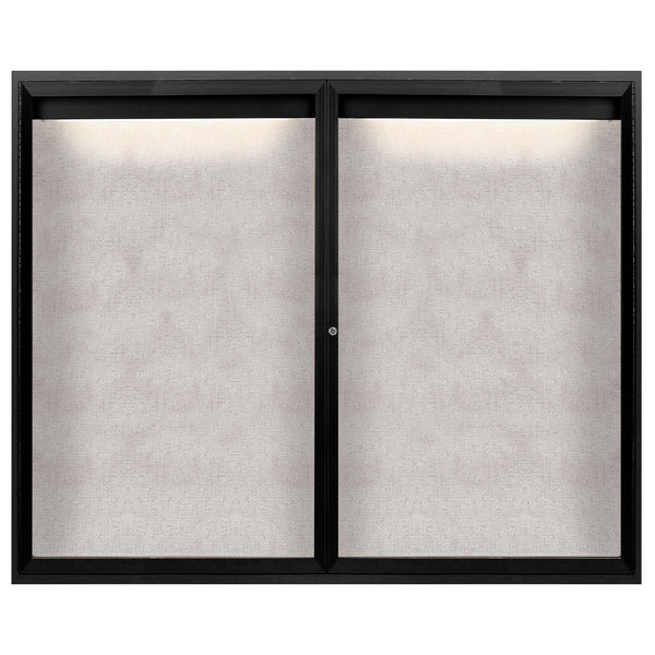 "Aarco ODCC4860RIBK 48"" x 60"" Enclosed Hinged Locking 2 Door Powder Coated Black Outdoor Lighted Bulletin Board Cabinet"