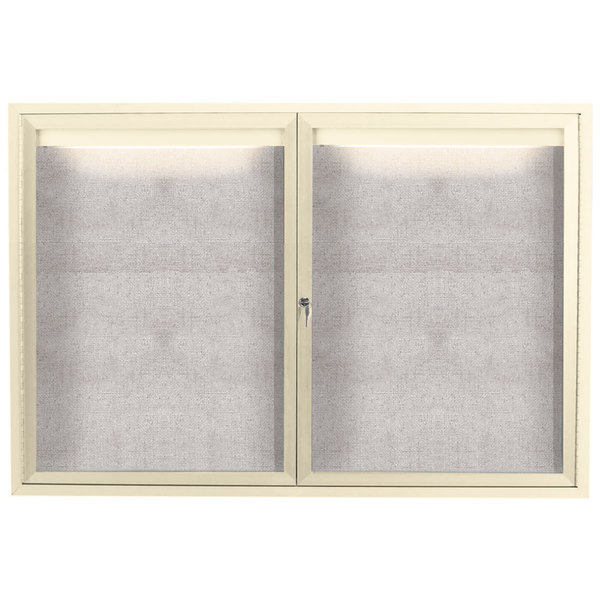 "Aarco ODCC3648RIIV 36"" x 48"" Enclosed Hinged Locking 2 Door Powder Coated Ivory Outdoor Lighted Bulletin Board Cabinet"