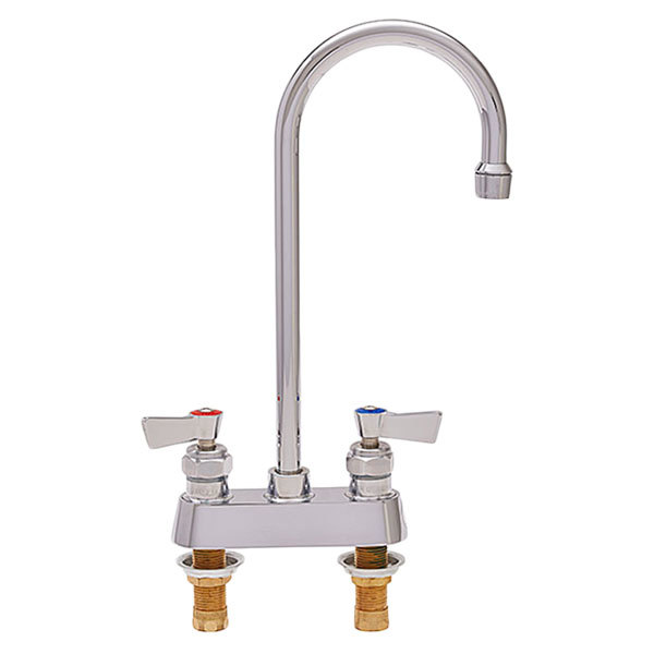 """Fisher 3525 Deck Mounted Faucet with 4"""" Centers, 6"""" Swivel Gooseneck Nozzle, 2.2 GPM Aerator, and Lever Handles"""