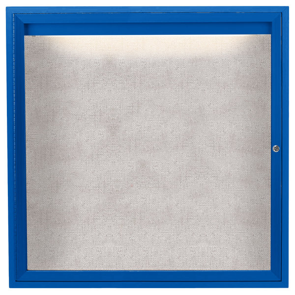 "Aarco ODCC3636RIB 36"" x 36"" Enclosed Hinged Locking 1 Door Powder Coated Blue Outdoor Lighted Bulletin Board Cabinet"