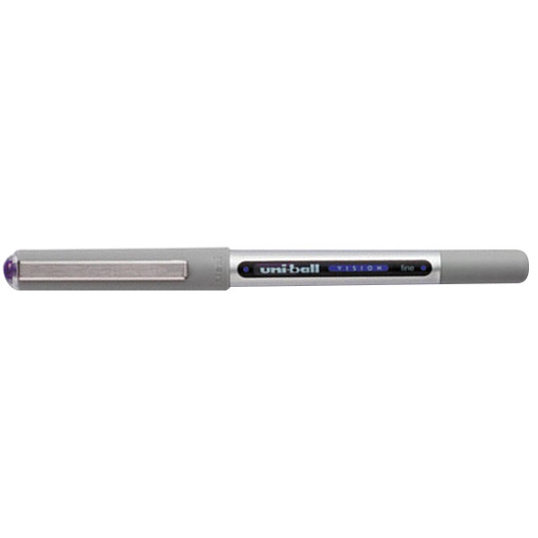 Uni-Ball 60382 Vision Purple Ink with Gray Barrel 0.7mm Roller Ball Waterproof Stick Pen - 12/Pack Main Image 1
