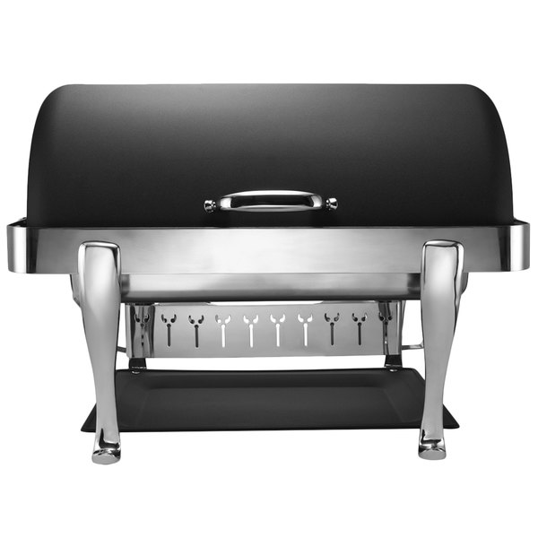 Bon Chef 19040CH-NERO Elite Rectangle 8 Qt. Dripless Nero Finish with Chrome Accents Roll Top Chafer with Roman Legs