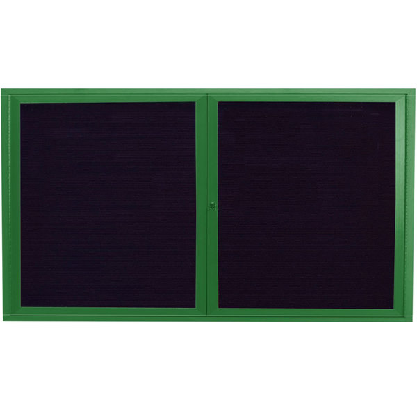 "Aarco ADC3672G 36"" x 72"" Enclosed Hinged Locking 2 Door Powder Coated Green Aluminum Indoor Message Center with Black Letter Board"