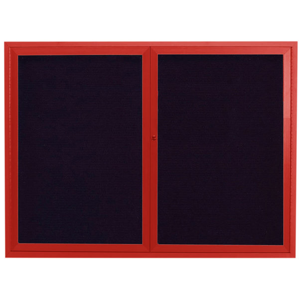 """Aarco ADC4860R 48"""" x 60"""" Enclosed Hinged Locking 2 Door Powder Coated Red Aluminum Indoor Message Center with Black Letter Board"""