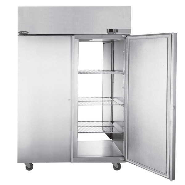 Nor-Lake PW554SSS/8 2 Section Pass-Through Solid Door Heated Holding Cabinet - 115/208-230V, 3000W