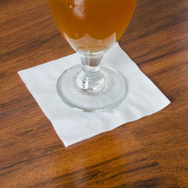 Choice 1-Ply White Beverage / Cocktail Napkin - 4000/Case