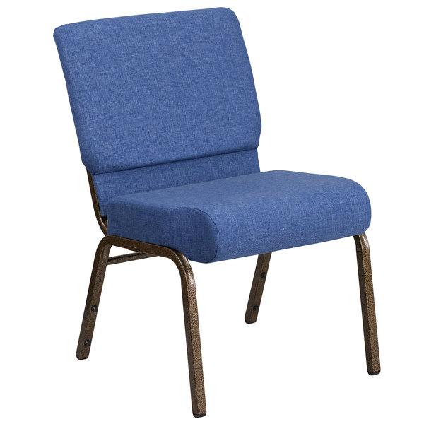 """Flash Furniture FD-CH0221-4-GV-BLUE-GG Hercules Series Blue 21"""" Church Chair with Gold Vein Frame Main Image 1"""