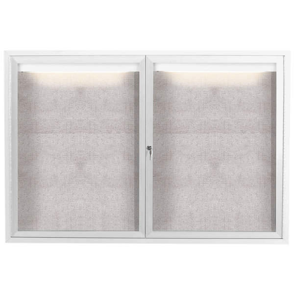 "Aarco ODCC3648RIW 36"" x 48"" Enclosed Hinged Locking 2 Door Powder Coated White Outdoor Lighted Bulletin Board Cabinet"