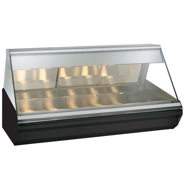 Alto-Shaam EC2-72/PR BK Black Heated Display Case with Angled Glass - Right Self Service 72""