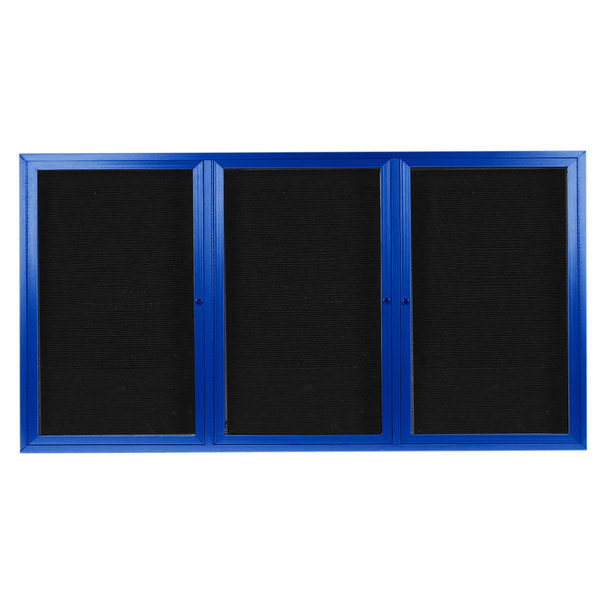 "Aarco ADC4896-3B 48"" x 96"" Enclosed Hinged Locking 3 Door Powder Coated Blue Aluminum Indoor Message Center with Black Letter Board"