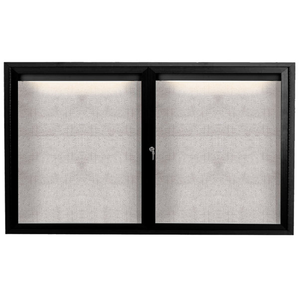 "Aarco ODCC3660RIBK 36"" x 60"" Enclosed Hinged Locking 2 Door Powder Coated Black Outdoor Lighted Bulletin Board Cabinet"