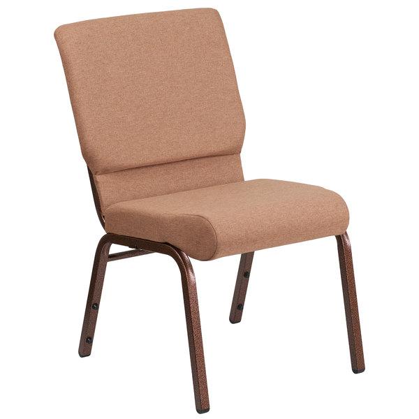 """Flash Furniture FD-CH02185-CV-BN-GG Hercules Series Caramel 18 1/2"""" Church Chair with Copper Vein Frame"""