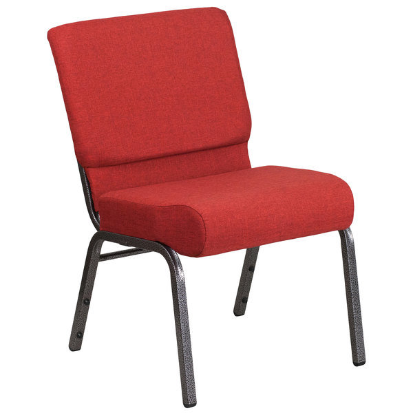 "Flash Furniture FD-CH0221-4-SV-RED-GG Hercules Series Crimson 21"" Church Chair with Silver Vein Frame Main Image 1"