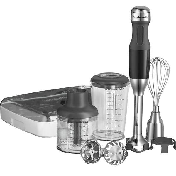 """KitchenAid KHB2561OB Onyx Black 5 Speed Hand Blender with 8"""" Shaft and Interchangeable Blade Assemblies Main Image 1"""
