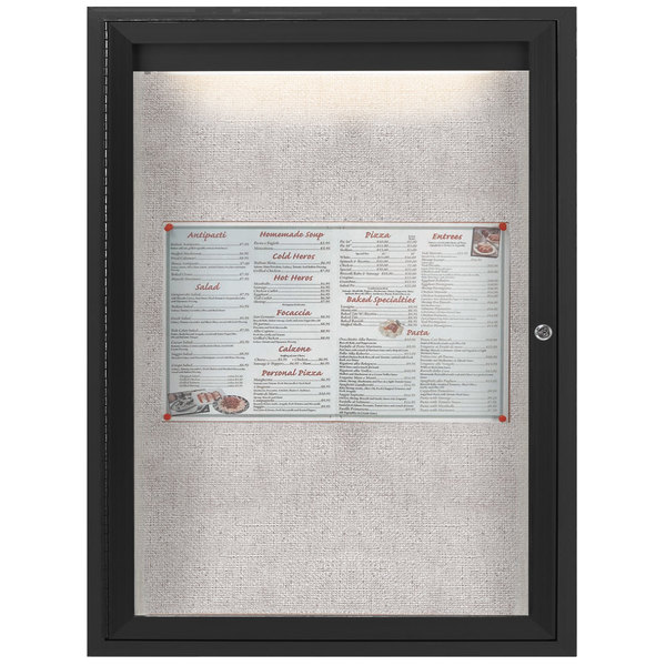 """Aarco ODCC2418RIBK 24"""" x 18"""" Enclosed Hinged Locking 1 Door Powder Coated Black Outdoor Lighted Bulletin Board Cabinet"""