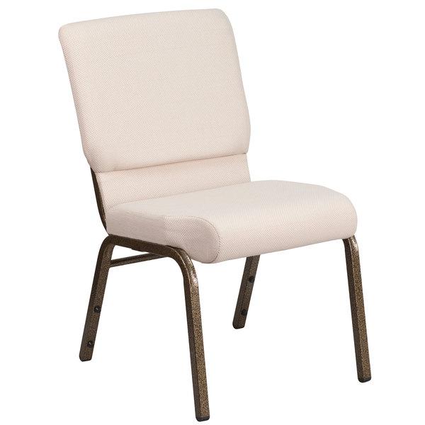"""Flash Furniture FD-CH02185-GV-B2-GG Hercules Series Beige 18 1/2"""" Church Chair with Gold Vein Frame"""