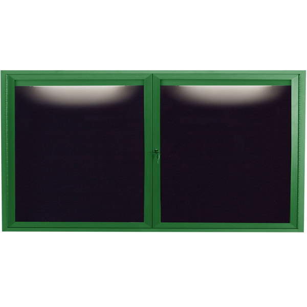 "Aarco ADC3672IG 36"" x 72"" Enclosed Hinged Locking 2 Door Powder Coated Green Aluminum Indoor Lighted Message Center with Black Letter Board"