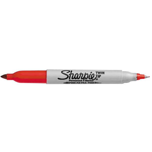 Sharpie 32002 Twin Tip Red Fine And Ultra Fine Point Permanent Marker 12 Pack