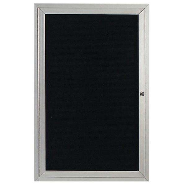 """Aarco ADC4836 48"""" x 36"""" Enclosed Hinged Locking 1 Door Satin Anodized Finish Aluminum Indoor Message Center with Black Letter Board"""