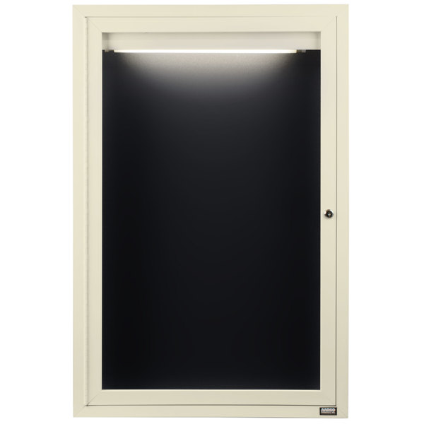 "Aarco ADC2418IIV 24"" x 18"" Enclosed Hinged Locking 1 Door Powder Coated Ivory Aluminum Indoor Lighted Message Center with Black Letter Board"