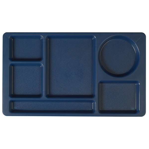 """Cambro 915CP186 (2 x 2) 8 3/4"""" x 15"""" Navy Blue Six Compartment Serving Tray - 24/Case"""