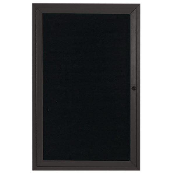 """Aarco ADC2418BA 24"""" x 18"""" Enclosed Hinged Locking 1 Door Bronze Anodized Aluminum Indoor Message Center with Black Letter Board"""