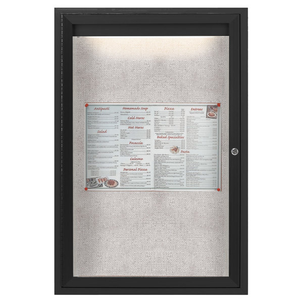 """Aarco ODCC3624RIBK 36"""" x 24"""" Enclosed Hinged Locking 1 Door Powder Coated Black Outdoor Lighted Bulletin Board Cabinet"""