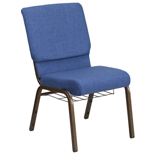 "Flash Furniture FD-CH02185-GV-BLUE-BAS-GG Hercules Series Blue 18 1/2"" Church Chair with Book Rack and Gold Vein Frame"