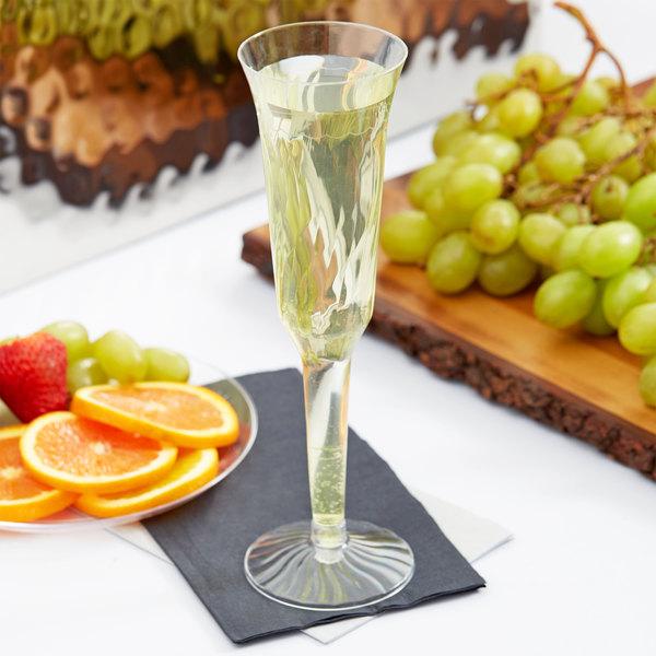 Fineline Flairware 2105 5 oz. Clear Plastic 2 Piece Champagne Flute - 120/Case Main Image 8