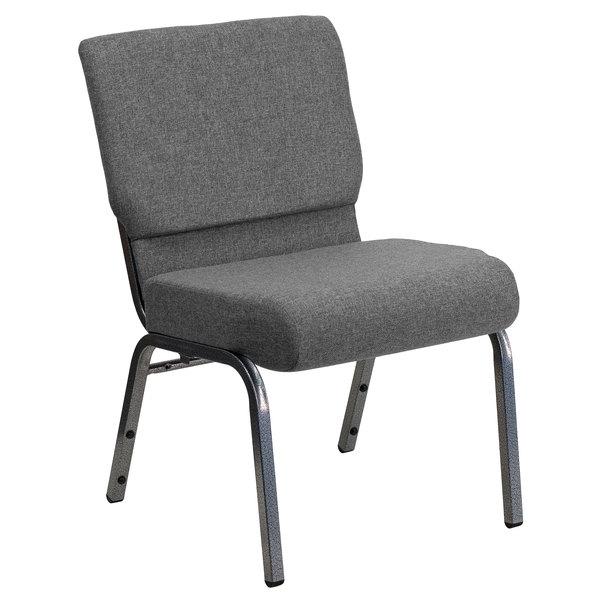"Flash Furniture XU-CH0221-GY-SV-GG Hercules Series Gray 21"" Church Chair with Silver Vein Frame Main Image 1"