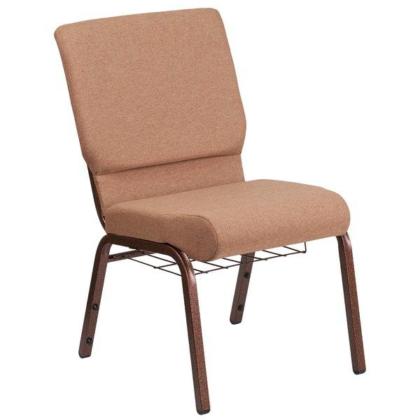 """Flash Furniture FD-CH02185-CV-BN-BAS-GG Hercules Series Caramel 18 1/2"""" Church Chair with Book Rack and Copper Vein Frame"""